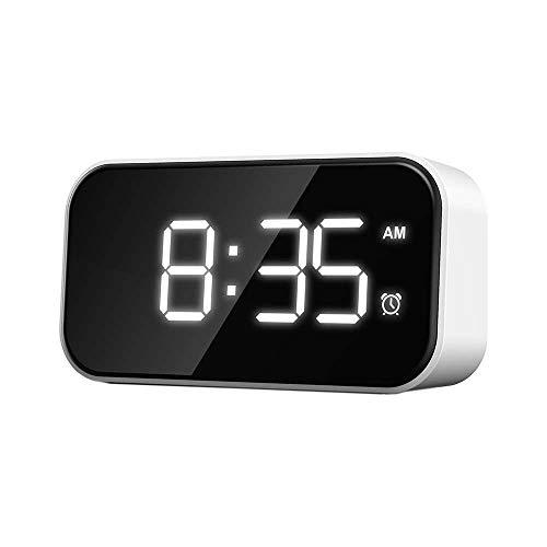 XJF Despertador digital con LED grande de 5 pulgadas, reloj de noche con función de repetición, carga USB y reloj despertador con batería para dormitorio, mesita de noche, oficina y viajes