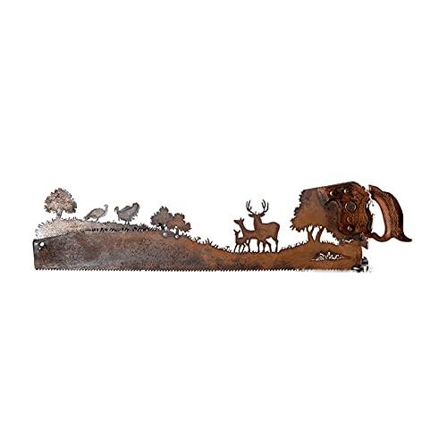 SSLLH Vatertag Einzigartig Geschenk Metall Kunst Baum,Alt Jahrgang Metall Handsäge mit Holzgriff, Alte Handsäge mit handgeschnittenem Plasma Fackel Entwurf für Wand Wohnzimmer Schlafzimmer Büro Dekor