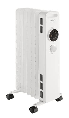 CONCEPT Hausgeräte Radiador de aceite RO3307, 3 niveles de calor, 7 aletas, protección contra sobrecalentamiento, 1500 W
