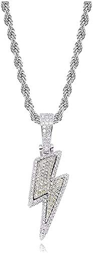 Yiffshunl Collares Bling Lightning Colgante Cubic Zirconia Mens Hip Hop Jewelry Gift-Silver Color
