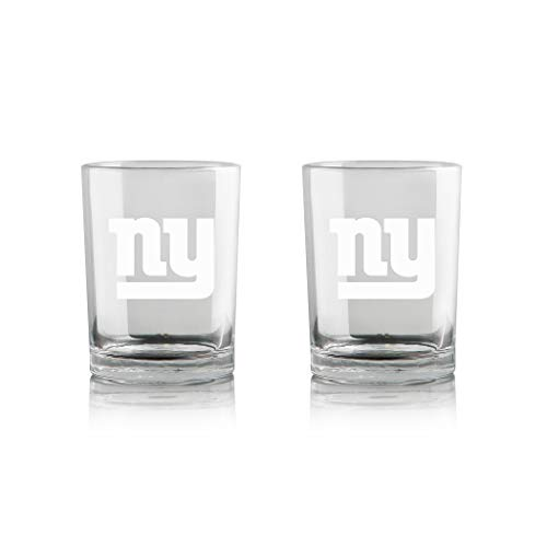 Duck House NFL New York Giants Whiskey Rocks Glass | Frosted Team Logo | Lead-Free | Premium Glassware | 12oz | Set of 2