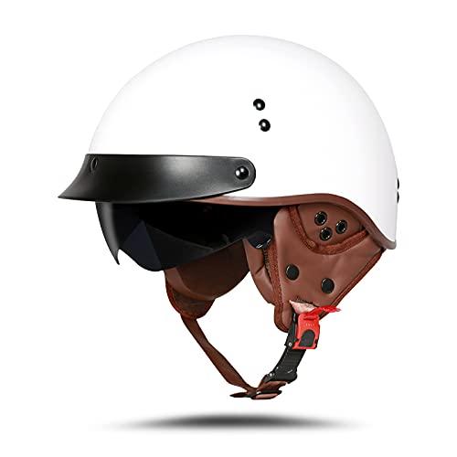 LIONCIANO Motorradhelm Mit Schutzbrille DOT/ECE-Zugelassen, Jethelm Roller-Helm Scooter-Helm Moped Mofa-Helm Chopper Vintage(Helles Weiss, L 59-60cm)