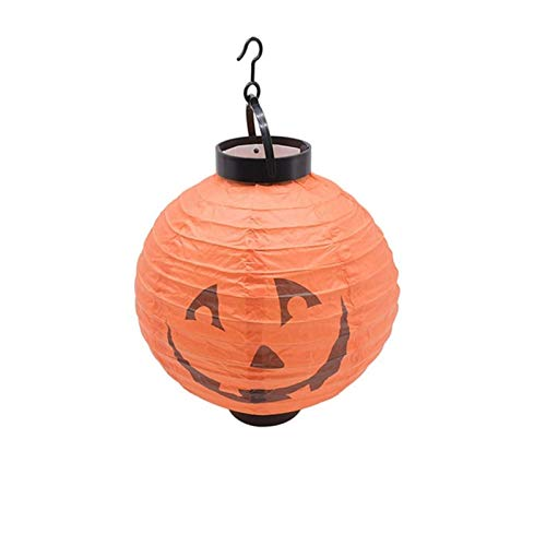 Halloween Led Pumpkin Lantern Paper Lantern, Spider Ghost Pumpkin Bat Battery-Powered Pendant, Halloween Party Outdoor Fall-Resistant Decoration 1pcs (Color : E)