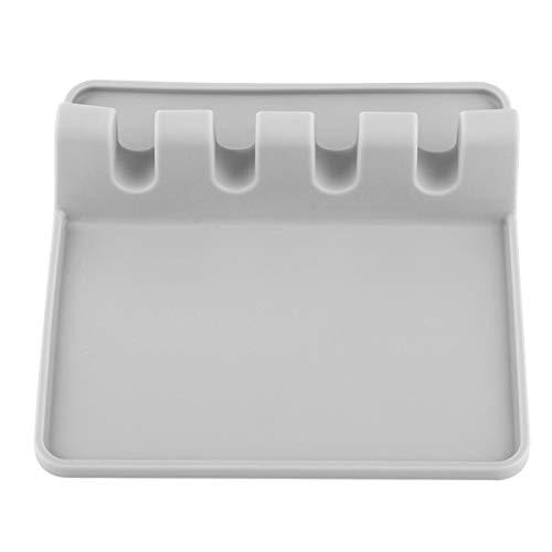 Herramienta de cocina de silicona, soporte de silicona para utensilios suave resistente al calor, soporte de cocina de silicona, cocina saludable y fácil de limpiar para(gray)