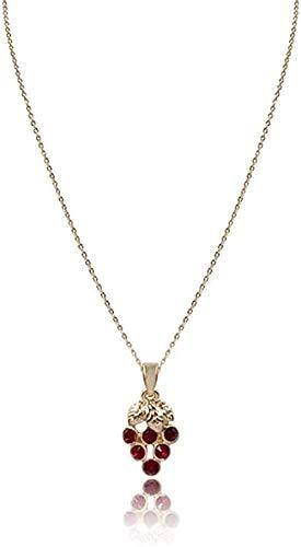 CAISHENY Collar Lady Cute Colgante Collar Corto Cadena Fina de Color Dorado con Colgante de UVA roja Collar para Regalo de Amistad