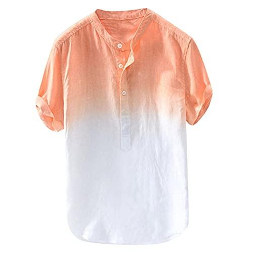 Nuevo 2021 camisas para Hombre, Verano Camiseta Algodón y lino Manga corta Impresión degradada Moda Diario Suelto Botones Casuales T-shirt Blusas originales suave básica Camisetas Talla grande
