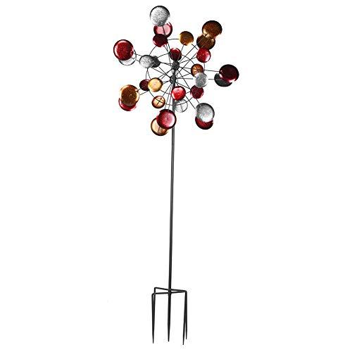 Ausla Deko-Windrad aus Metall, Windrad aus Metall, Blumenwindrad aus Metall, dekorativ, rund, Windmühle für den Garten, 71 x 190 cm