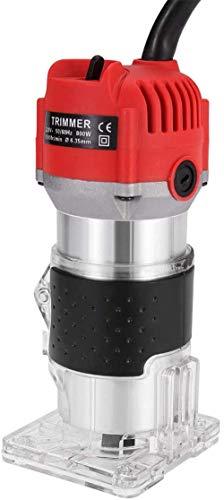 Recortadora manual eléctrica, enrutador laminador de madera 1/4, laminador de corte manual para procesamiento de muebles de madera de 800 W, juego de herramientas para máquina de tallado de bricolaje