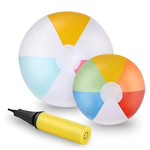 Ucradle Rainbow Aufblasbarer Wasserball Strandball, 2Pcs Aufblasbare Beach Ball Pool Spielzeug für den Pool, Strand, Sommerpartys, Geschenke und Dekorationen