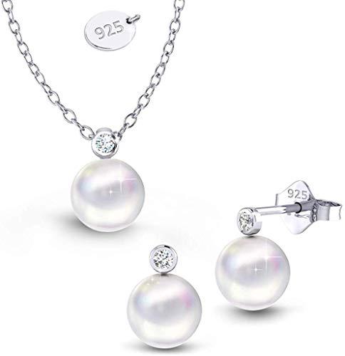Schmuckset Damen Schmuckset Silber 925 Damen Swarovski Perlen Ohrringe Kette Mädchen Geschenkset