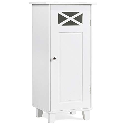 Tangkula Bathroom Floor Cabinet, Wooden Storage Cabinet with Single Door and Adjustable Shelf, 12 x 15 x 32 Inches (White)