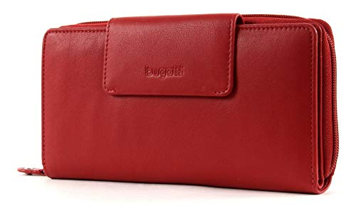bugatti Vertice Ladies Zip Wallet with Strap 24CC Red