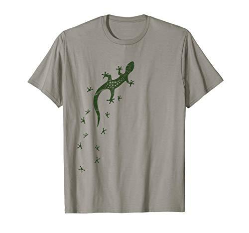 Retro Echsen Spuren Kunst | Salamander Gecko T-Shirt
