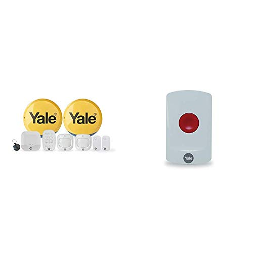Yale IA-330 Sync Smart Home Alarm, works with Alexa, Google & Philips Hue. 9-piece kit, Self-Monitored, Geofencing, 200m range & AC-PB Sync Smart Home Alarm Accessory Panic Button, White