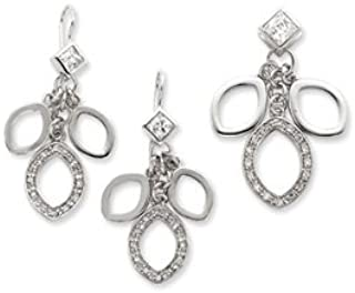 Sterling Silver Polished Shepherd hook Cubic Zirconia Dangle Pendant and Earring Set