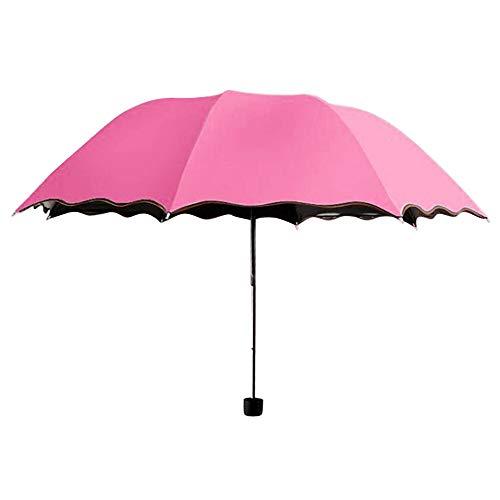 JWGD Viajes Parasol Plegable Lluvia a Prueba de Viento del Paraguas Plegable Anti-UV Sun/Paraguas Mujer Muchachas del Regalo Anti-UV a Prueba de Agua portátil (Color : Hot Pink)