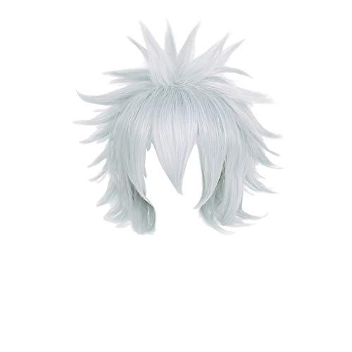 PWEINCY Killua Zoldyck Cosplay Wig, Short Spiky Layered Silver White Halloween Party Anime Hair