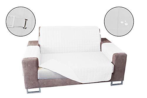 Banzaii Cubre Sofá Impermeable – Funda Sofá Acolchada Reversible – 2 Plazas Blanco y Blanco para Asiento de 115 a 140 cm