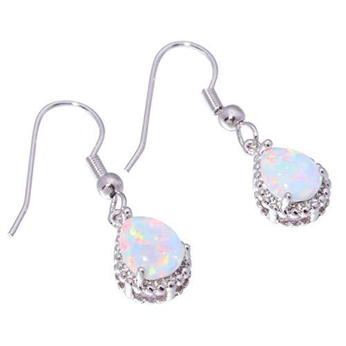 Comelyjewel Teardrop Earrings Created White Fire Opal Jewelry Gemstone Dangle Earrings for Women Useful and Practical