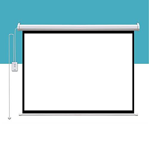 FASZFSAF Pantalla ProyeccióN Proyector Motorizado EléCtrico Full HD 3D, VersióN Mejorada y Mejorada De Material MetáLico, Plegable HD Cine Casa Soporte Interior Exterior,Blanco,120 Inches * 16:9