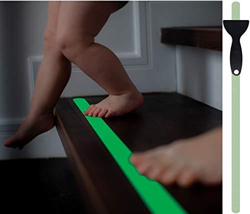 Cinta adhesiva fluorescente antideslizante cocofy para escaleras, Cinta adhesiva fotoluminiscente, XXL (90x3 cm), para peldaños de escaleras de interior - 18-Pack [2021 Lanzamiento]