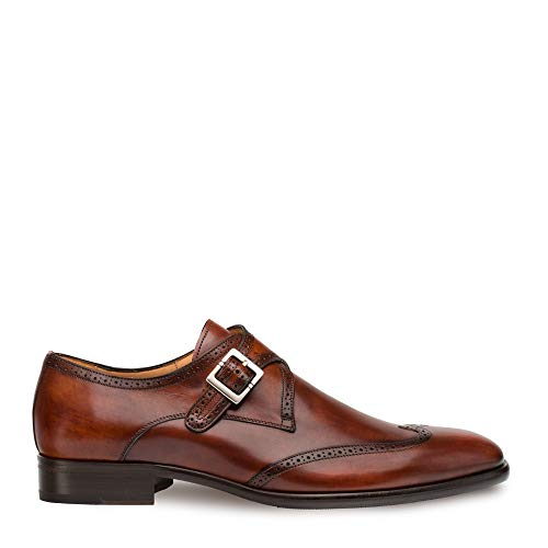Mezlan Forest Mens Luxury Wing Tip Oxfords - Exquisite Hand-Burnished Calfskin with Perforated Accents - Handcrafted in Spain - Medium Width (Cognac, 12)