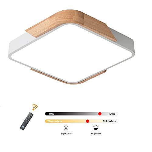 LuFun Lámparas de techo regulables, moderna lámpara de techo empotrada de madera, luz de techo para sala de estar, dormitorio, cocina, salón, pasillo, 30 cm * 30 cm (blanco) [Clase energética A ++]