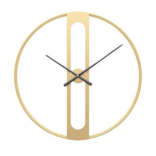 Reloj de Pared Grande Retro Reloj de Metal Silencioso 3D Reloj De Pared Decorativo para Habitación De Oficina Sala De Estar Bar Café (D,50 cm)