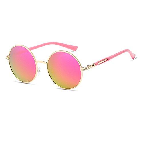 Qixuan QIXU Gafas de Sol Redondas Mujer Rosa Lente Efecto Espejo Antirreflejante UV400 Vintage Retro Inspirado Círculo Metálico con el Caso