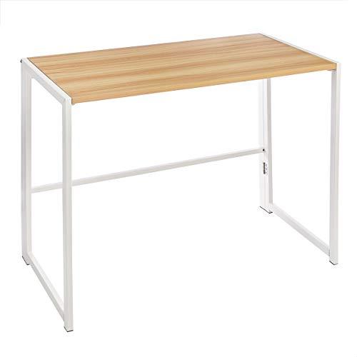 Amazon Basics Mehrzweck-Computertisch, Schreibtisch, klappbar, 102 cm, Naturholz