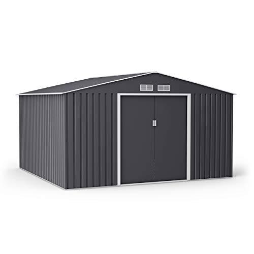 BillyOh Ranger Apex Metal Shed with Foundation Kit | Metal Garden Storage | 11x10 Garden Shed - Dark Grey