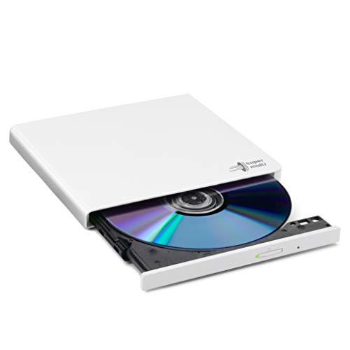 Hitachi-LG GP57 Externer Portabler Super-Multi DVD-Brenner, Ultra Slim, USB 2.0, DVD+/-RW, CD-RW, DVD-ROM/RAM kompatibel, TV-Anschluss, Windows 10 & Mac OS kompatibel, Weiß