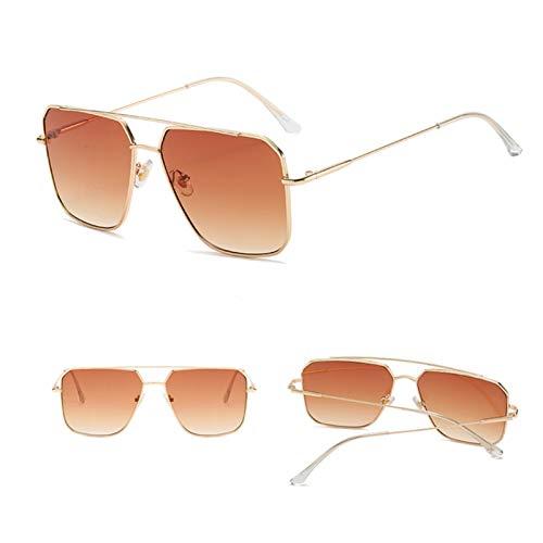 YWSZY Gafas de Sol, Gafas De Sol De Gran Tamaño Hombre Anti-reflexivo Espejo Cuadrado Gafas De Metal Moda Mujeres UV400 (Lenses Color : Brown)