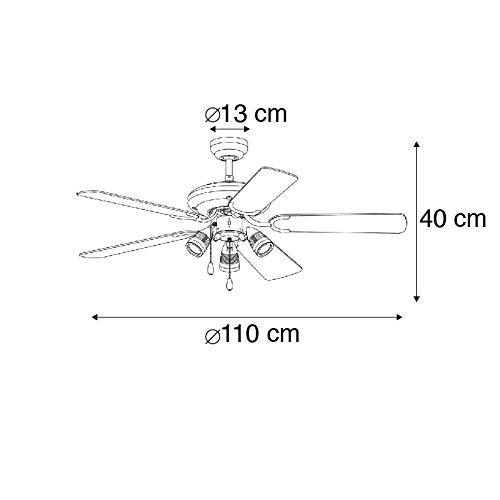 QAZQA Moderno Ventilador gris - MISTRAL 42 Madera/Acero Redonda Adecuado para LED Max. 3 x 50 Watt: Amazon.es: Iluminación