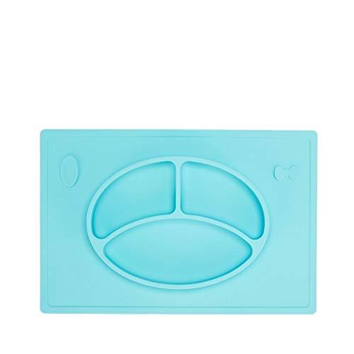 Plaque de nourriture divisée en silicone pour bébés Bébés Bébés Tout-petits Plaque de séparation Ventouse anti-glisse anti-chute Vaisselle portable (Couleur : Bleu)