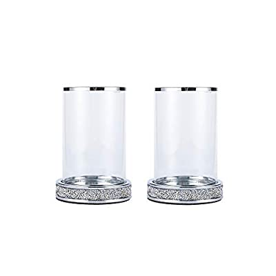 Pillar Candle Holders,Candlesticks Holder with Glass Hurricane Lid,Metal Candle Holder for Coffee Dining Table, Wedding, Christmas, Halloween, Home Decoration 2 Pieces a Set Silver YL001S by Hanjue