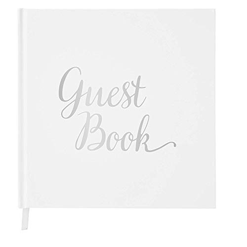 Wedding Guest Book Silver Guestbook - Blank NO Lines - Memory Signature Message Book - Christening Birthday Engagement Party - White Paper Ribbon & Foil Stamping - Thick Paper 32...