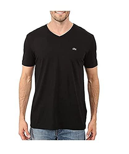 Lacoste Men's Short Sleeve V Neck Pima Jersey Shirt T-Shirt, TH6710, Black, Medium