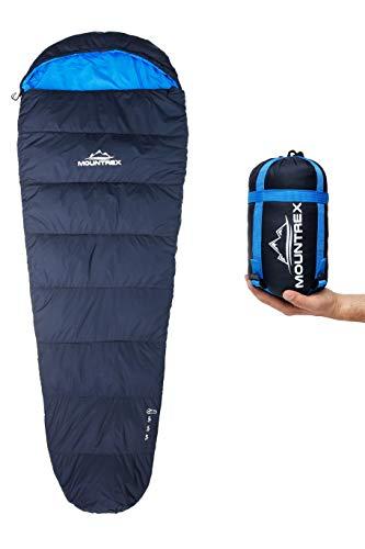 MOUNTREX® Schlafsack - Kleines Packmaß & Ultraleicht (720g) - Outdoor Sommer Schlafsack, Mumienschlafsack (205x75cm) - Kompakt, Warm und Leicht für Camping, Reise oder Festival - Koppelbar (Links)