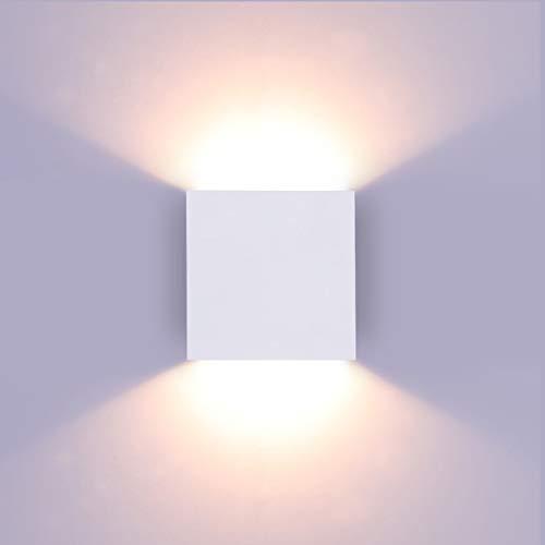 Glighone Dimmbar Wandlampe LED, 10W Weiß Aluminum Modern LED Wandleuchte Innen Licht Up Down Wandlicht für Wohnzimmer, Schlafzimmer, Flur, Balkon, Treppen, Warmweiß 3000K