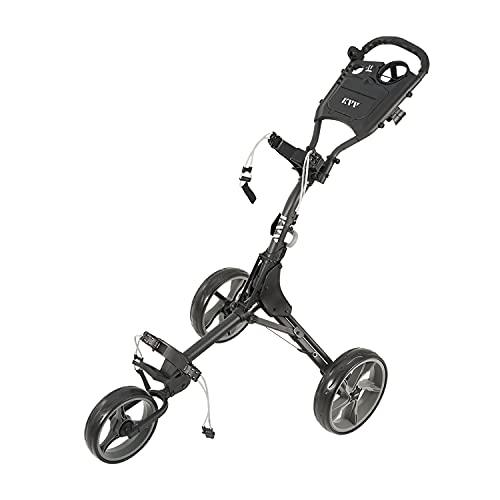 KVV 3 Wheel Golf Push Cart Ultra Lightweight Smallest Folding Size, New-Version Scorecard Holder