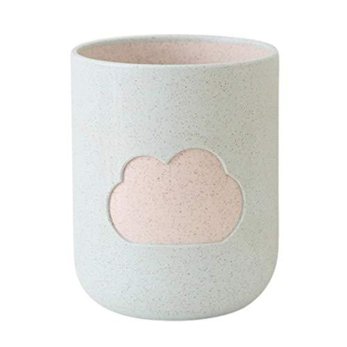 LLAAIT Fashion Cloud Patroon Tandenborstel Cup Tarwe Straw mondwater Cup Badkamer Tumblers Badkamer Product Huishoudelijk Blauw/Licht Rood/Groen, VB0972G