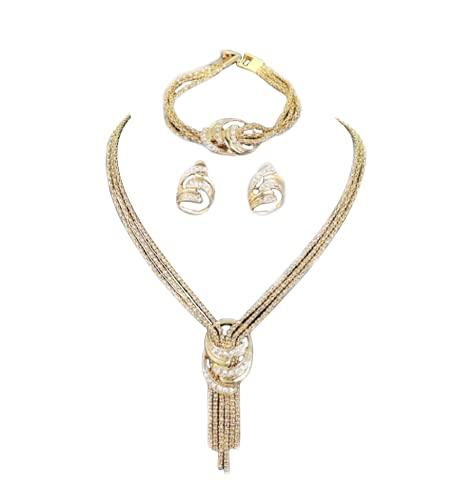 Finemall - Conjunto de collar y pendientes de cristal bañado en oro de 18 quilates, para mujer, bañado en oro Dubai