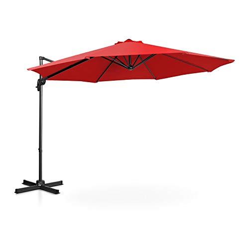 Uniprodo Ombrellone Decentrato Ombrello da Giardino Uni_Umbrella_2R300RO (Rosso, Rotondo, Ø 300 cm, Girevole)