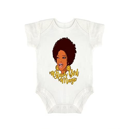 DKISEE Novedad encantador bebé mono - divertido negro chica magia historia negro regalo del mes bebé niño y niña bebé mono 18 meses