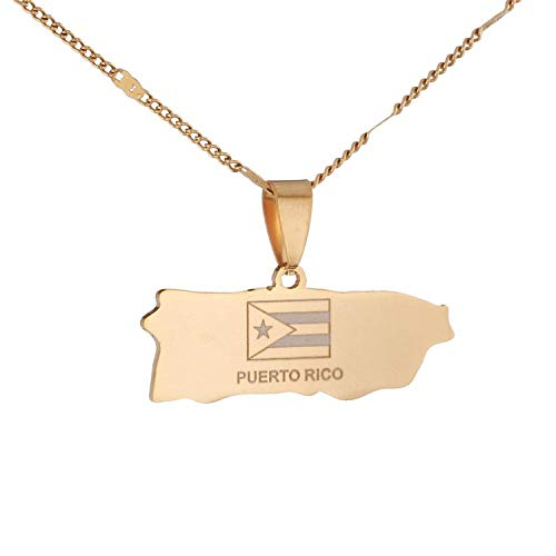 Sudran-baby Stainless Steel Puerto Rico Map Pendant Necklaces Puerto Ricans Map Cahrm Jewelry-Gold-Color-