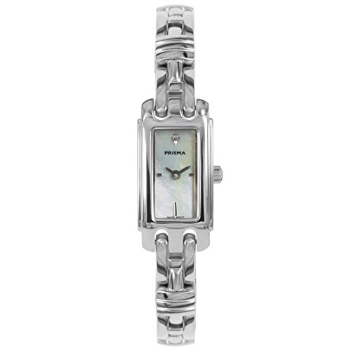 Prisma Dameshorloge zilverkleurig, saffierglas, Zwitsers uurwerk P.1760