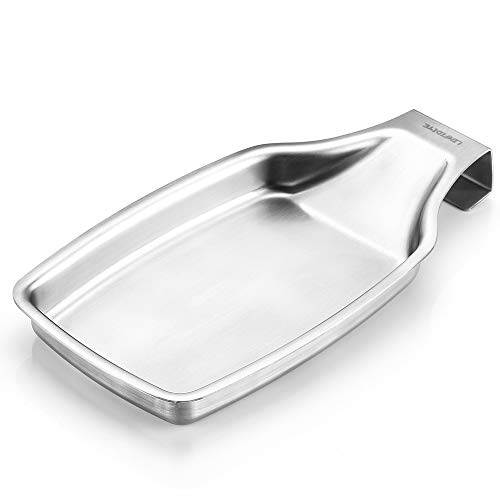 LINFIDITE Spoon Rest Stainless Steel Sturdy Soup Spoon Spatula Ladle Brush Holder with Hanging Handle Kitchen Tools for Kitchen Countertop Stove Top