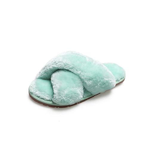 HUSHUI Caliente Suave Antideslizante Slippers,Patines de Carne de Punta Abierta, Fur Homes-Green_40-41,Interior Casa Caliente Pantuflas