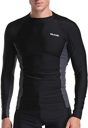 TELALEO Men's Long Sleeve Skins Rash Guard Men Swim Shirt Surf Water UV Sun Protection UPF 50+ Black L